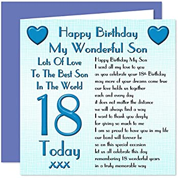 18th birthday son card youre 18 son amazon office products son 18th happy birthday card lots of love to the best son in the world 18 today bookmarktalkfo Images