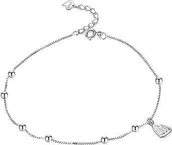 Cavigliera da donna in argento Sterling 925 con sfera a vela, 24 cm, regolabile, per la spiaggia, per ragazze – senza nichel