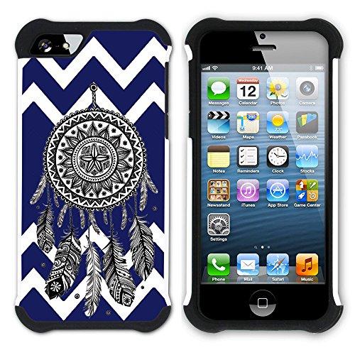Graphic4You Traumfänger Winkel Muster (Wasserblau) Hart + Weiche Kratzfeste Hülle Case Schale Tasche Schutzhülle für Apple iPhone SE / 5 / 5S Marineblau
