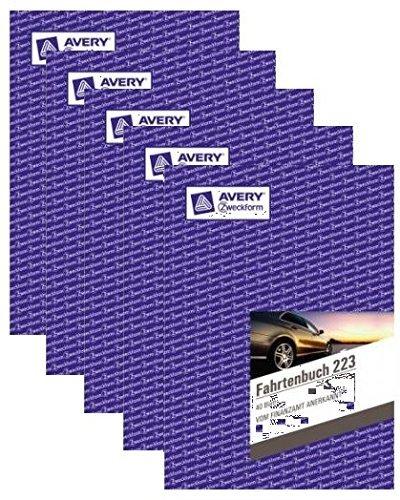 Avery Zweckform 223 Fahrtenbuch für PKW (A5, 40 Blatt) weiß 5 Stück