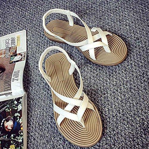 Amlaiworld Donne fasciatura Boemia tempo libero signora sandali peep-toe scarpe outdoor bianco