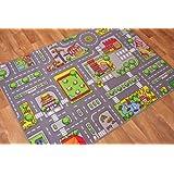 "Children's Play Village Mat Town City Roads Rug 95cm x 133cm (3ft 1"" x 4ft 4"")"