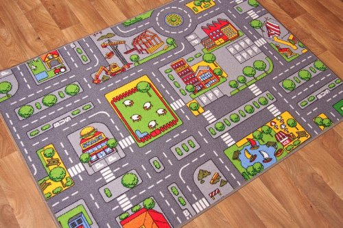 The Rug House Children's Play Village Mat Town City Roads Rug 95cm...