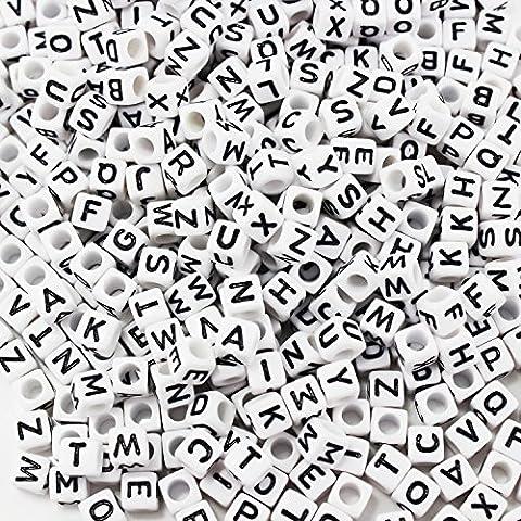 Mixed 500PCS 6mm plastique acrylique Alphabet Perles Spacer perles de lettres de cube pour le bricolage Bracelet Collier -Anhänger (Blanc