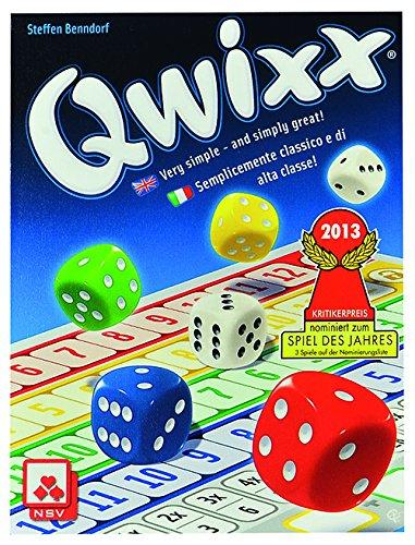 Preisvergleich Produktbild Nürnberger-Spielkarten 4032 - Qwixx International, Würfelspiel, Englisch/Italienisch/Deutsch