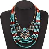 WTZWY Collana di Grosso Colore Perline di Riso di Colore Turchese, Gioielli Etnici turchi Vintage Stile retrò Dichiarazione T