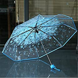 Joyfeel buy 1 Parapluie Cerisier Transparent 3 Plis Parapluie extérieur Parapluie Soleil et Parapluie pour Femmes Filles Homme Bleu