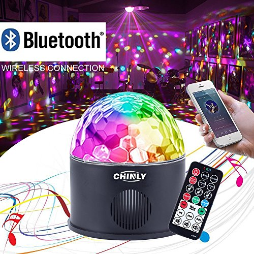 CHINLY LED Disco Ball Light Música MP3 Altavoz Bluetooth