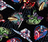 Marvel Avengers Badges Cotton Fabric by The Yard