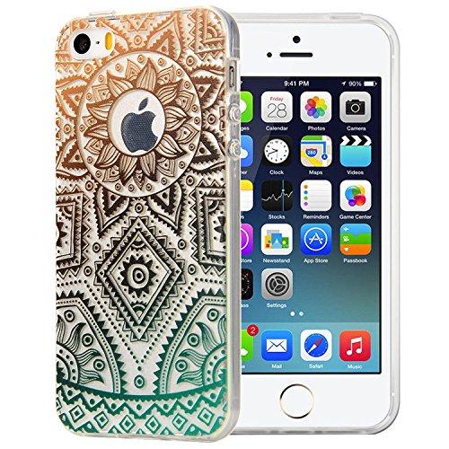 JIAXIUFEN TPU Coque - pour Apple iPhone 5 5S SE Silicone Étui Housse Protecteur - Gold Green Tribal Henna