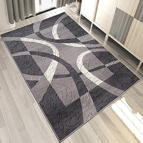 Designer Teppich Modern Rahmen Gestreift Kurzflor Meliert In Grau - ÖKO TEX (300 x 400 cm) (Teppiche Aus Der Türkei)