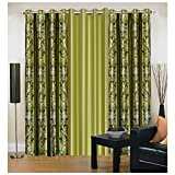 Exporthub Green Eyelet Door Curtains Set...