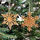 Country Garden Deko-Hänger 2er Set 'Schneeflocke' 15 cm | tolle Anhänger für die gemütliche Weihnachtszeit | perfekt für den Weihnachtsbaum - endlich rustikaler Flair für Weihnachten