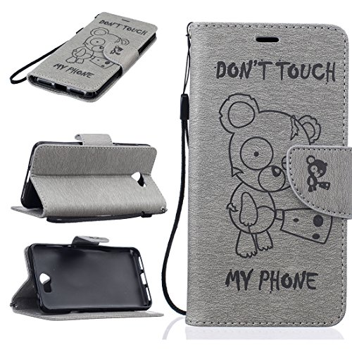 Nancen Compatible with Handyhülle Huawei Y5 II / Y5 2 Hülle, [Bär - Don't Touch My Phone] Serie Weich Leder Handyhülle Tasche Wallet Flip Case Book Cover Etui
