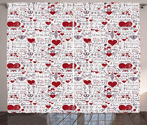 Vintage Valentine Curtains, I Love You in Several Languages with Paint Drops and Hearts, Living Room Bedroom Window Drapes 2 Panel Set, Vermilion Plum Off White 110x63 in Drop-off-panel