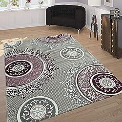 Paco Home Alfombra Diseño Elegante Motivo Oriental Ornamentos Mandala Gris Lila Y Blanco, tamaño:80x150 cm