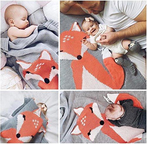 covermason-babydecke-kinder-fuchs-strickdecke-spielen-decke-fur-0-6-alter-kinder-baby-75-105cm-grau