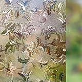 Rabbitgoo Film Occultant pour Fenêtre Repositionnable Film Autocollant Statique Décoratif Adhésif 3D Film de Vitre Anti Regard Motif Fleur Brun Foncé 44.5cm × 200cm