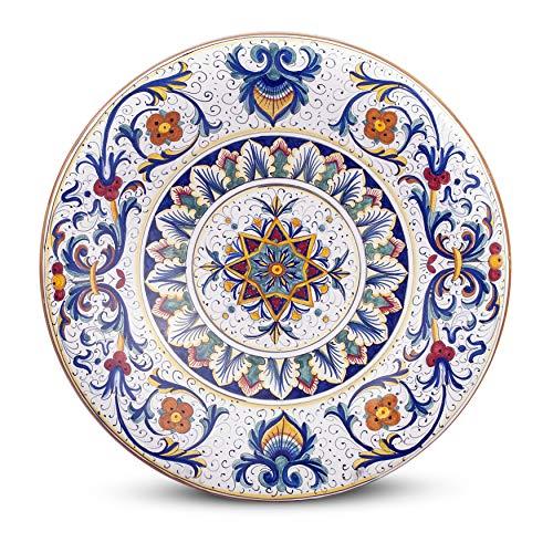 MICHELANGELO Peint à la main, Poterie - Assiette murale décoration Ricco Deruta en céramique 40x40 H6 cm (BLEU)