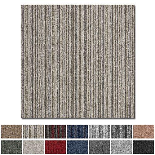 Teppichfliesen Vienna selbstliegend | hochwertiger Bitumen Rücken | strapazierfähiger Bodenbelag für Büro und Gewerbe | je 50x50 cm (braun gestreift - 4 Stück = 1qm) -