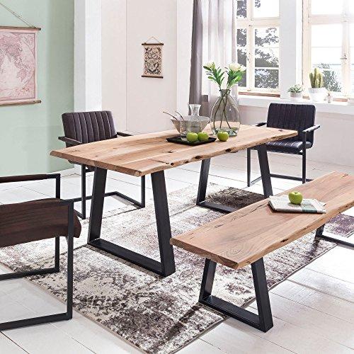 FineBuy Massiver Esstisch Tree 120 x 60 x 76 cm Baumkante Akazie Holz Massiv | Esszimmertisch Massivholz Baumstamm | Esszimmer Holz Tisch Robust Küchentisch