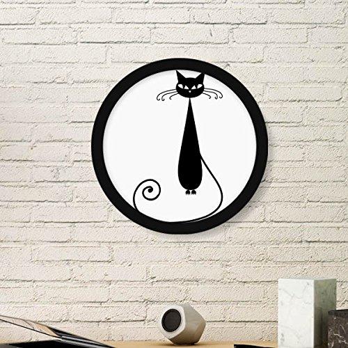 DIYthinker Tierkunst-Silhouette Katzen-Liebhaber Halloween Runde Einfacher Bilderrahmen Kunstdrucke von Paintings Startseite Wandtattoo Small Schwarz