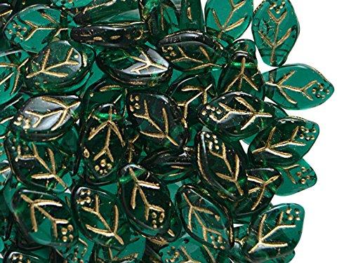 50stk 7x12mm Blätter Tschechische Gepresste Glasperlen, Emerald-Gold (Dark Green Transparent - Gold) Sieben Blätter