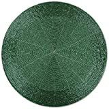 Arsvita 6er Pack Glasperlen Tischset handgefertigt Ø36cm in vielen Farben erhältlich (grün - dunkelgrün)