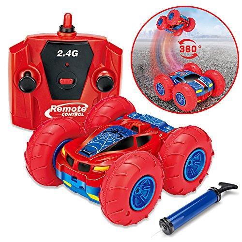 Seekool rc auto telecomando,auto da corsa radiocomandata all terrain 360 gradi di rotazione, rc car 4wd con 2.4ghz telecomando, ricarica usb, fuori strada veicolo, giocattole per bambini regalo natale (rosso)