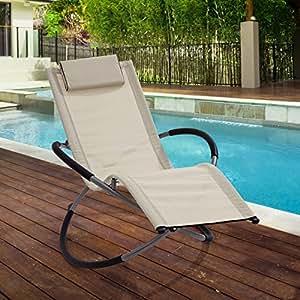 & # 39; Zen & # 39; beige Klappstuhl Gartenstuhl Sonnenliege Schaukelstuhl | leicht Moon Rocker Terrasse Stuhl | Sonnenliegen für Innen- oder Außeneinsatz | Easy Care Textilene