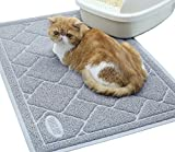 Vivaglory Tappetino lettiera per Gatto Non tossica e Durevole con Dimensioni Extra Large (90 × 60 cm), Impermeabile e Antiscivolo, Facile da Pulire, Grigio, Modello 1