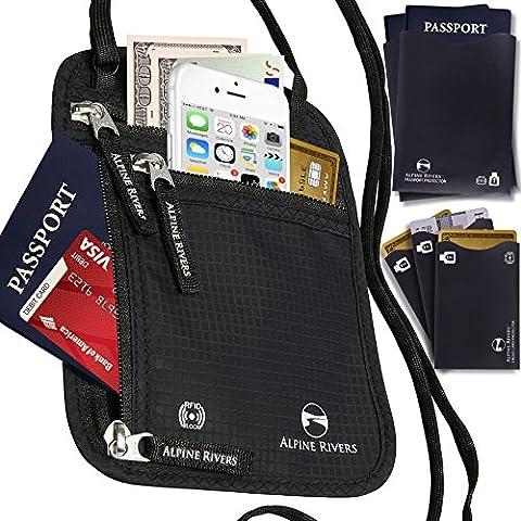 Cuello tipo pasaporte soporte y funda de viaje RFID bloqueo + 5extra bonus manga
