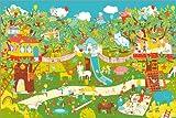 Poster 60 x 40 cm: Träumeland Wimmelbild Zauberwald von Kristina Brasseler - Hochwertiger Kunstdruck, Neues Kunstposter