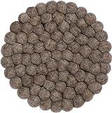 myfelt Alwin Filzkugel-Topfuntersetzer, rund, Schurwolle, Braun, Ø 20 cm