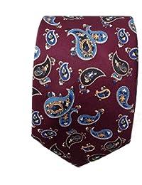 Warrior Mens New Mod Style Burgundy Vintage Paisley Tie 1970s Look