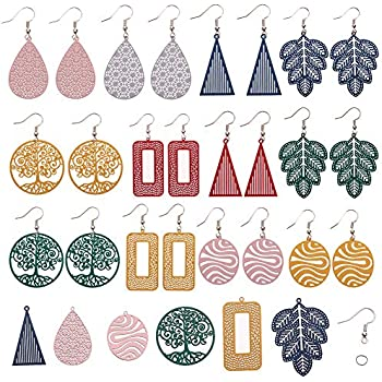 SUNNYCLUE DIY 8 Pairs Acrylic Beaded Earrings Making Starter Kit Supplies for Women Girls Beginners Include 18pcs Alloy Round Square Links /& 22pcs Acrylic Beads