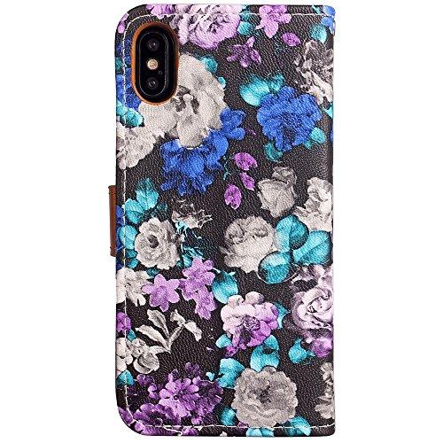 EKINHUI Case Cover Schöne Farbe Druck Stil PU Leder Flip Stand Fall Ganzkörper Vorbereitung TPU Abdeckung mit Card Slots und Magnetverschluss für iPhone X ( Color : Black ) Purple