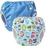 Teamoy 2pcs Baby Nappy riutilizzabile pannolino da nuoto, Blue+ Owls Blue
