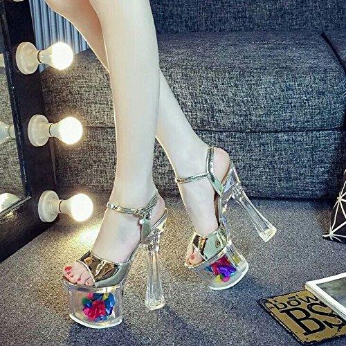 Xing Lin Chaussures DÉté Pour Les Femmes Mr Crystal Clear 18Cm/20Cm Imperméable Ultra-Haute Avec Taiwan Épais Avec Des Chaussures À Haut Talon Nuit Sandales Femmes The 18cm gold crystal