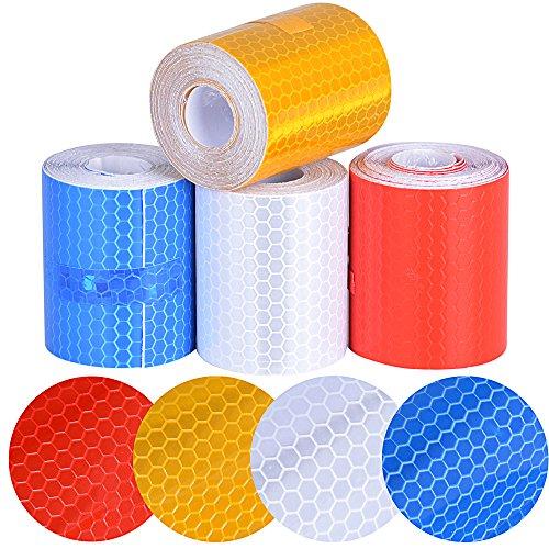 5cm*3m*4 rotoli nastro riflettente adesivo autoadesivo pellicola di sicurezza stickers riflessivo avviso notte per auto moto bianco rosso giallo blu