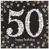 16 Servietten * SPARKLING 50. * für eine Party zum Geburtstag // Napkins fünfzig fifty
