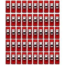 50pcs Clips Plástico Abrazaderas para Colcha Costura Claras Rojas