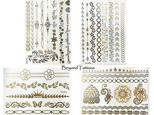 Metallic Flash pulseras Tatuajes 4hojas Mandala Mariposas Tatuajes TH Juego 1