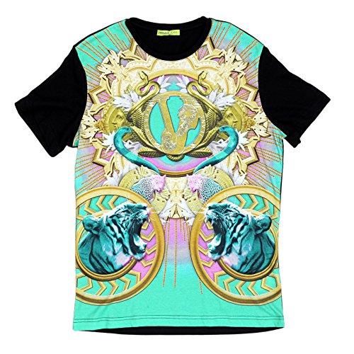 VERSACE jeans stampato anteriore Tiger Snake maglietta maniche corte VERS6155 Black Medium