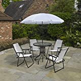 Kingfisher 6 Piece Cream Garden Furniture, Patio Set inc. 4 x Chairs, Table & Parasol