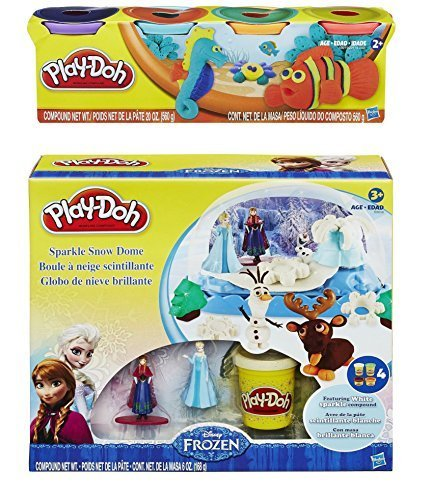 Play-Doh Disney Frozen Sparkle Snow Dome Set with Elsa and Anna + Play-Doh Colors 20oz - Bundle by Play-Doh Dome Bundle