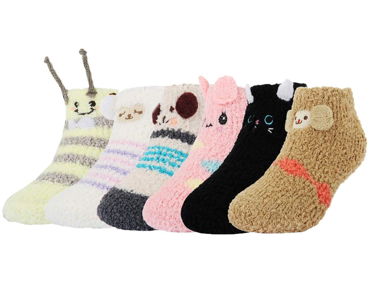Z-Chen Pack de 6 Pares Calcetines Antideslizantes de Invierno para Bebé Niños Niñas Infantil, Set B, 1-3 Años 1