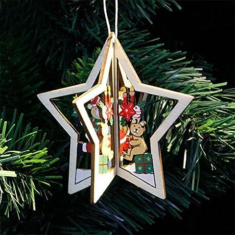 Lanlan Anhänger Kleinen Verzierungen aus Holz 3D Creative Home Party Weihnachten Weihnachtsbaumschmuck Five-pointed Star