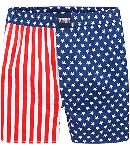 "Happy Shorts Boxershorts Herren/Web-Boxer mit Jersey-Innenslip – Modell: ""Stars&Stripes"" (XL)"