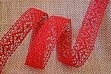 Spitzenband ROT 5 m x 25 mm Spitze Baumwollspitze Häkelband Spitzenborte Hochzeit Geschenkband Dekoband Schleifenband Landhaus Vintage Deko (2,59€/m)